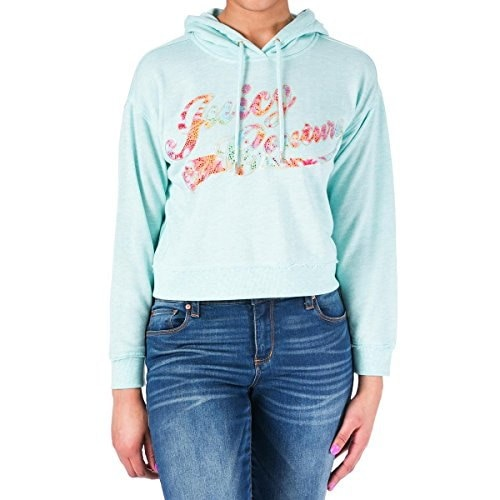 Juicy Couture Black Label Womens Grapihc Glamour Modal Hooded Sweater Blue XL