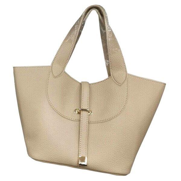 柔らか素材付♪大きく開閉する持ち手長めのシンプルハンドバッグ/ベージュ