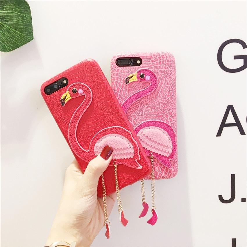 iPhone7/7Plus iPhone6 Plus/6sPlus iPhone6/6s用刺繍スマホケース/フラミンゴ柄/使いやすい/軽量 耐衝撃【F966】