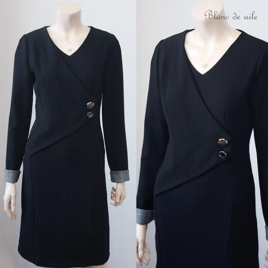 [ブランドゥエル] [BD29D449】スチールボタンスーツワンピース(ブラック) スーツワンピース/ 韓国ファッション
