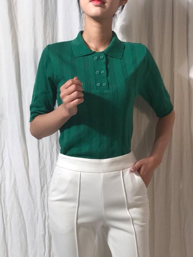 ツーボタンスリムデイリーカラーニットkorea fashion style