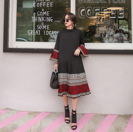 半ハイネックラッパ袖プリーツしわ秋ロングワンピースデイリールックkorea women fashion style