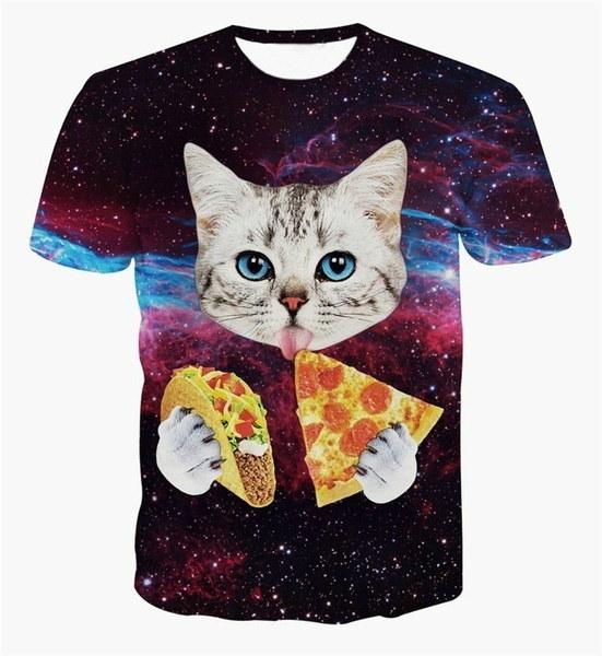 ORGのTシャツ猫はタコスを食べるピザ服ティーTシャツ