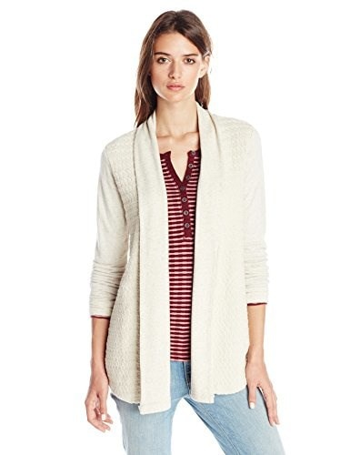 Lucky Brand Womens Mixed Open Wrap Sweater, Oatmeal, Small