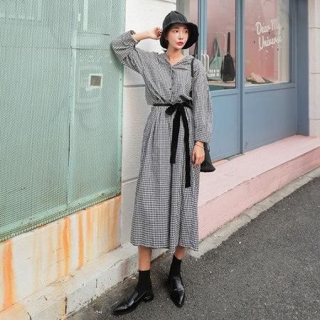 ビッグサイズのチェックパターンマキシロングセラワンピースデイリールックkorea women fashion style