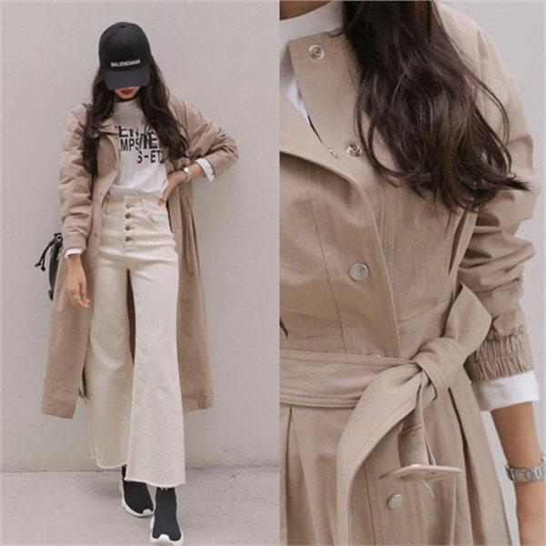 プコンラウンドトレンチコート 女性のコート/ 韓国ファッション/ジャケット/秋冬/レディース/ハーフ/ロング/
