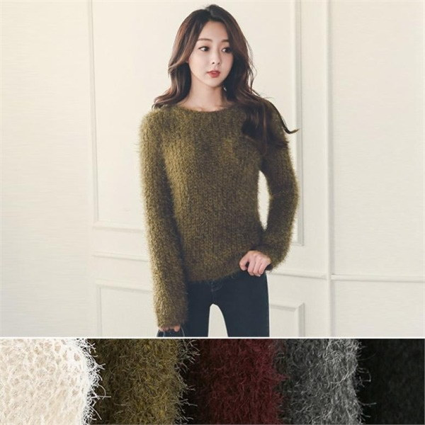 TPJ010サラッとボートネックロングスリーブニットnew 女性ニット/ラウンドニット/韓国ファッション