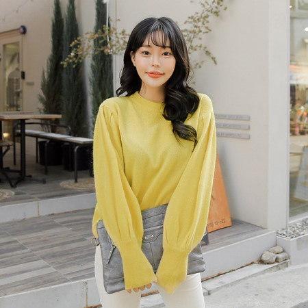 [Tom n Rabbit]パフアンゴラニットラウンドネックアンゴラパフスリーブウールニットkorean fashion style
