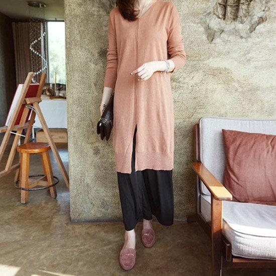 モニカルームの前に広がることロング ニット/セーター/ニット/韓国ファッション