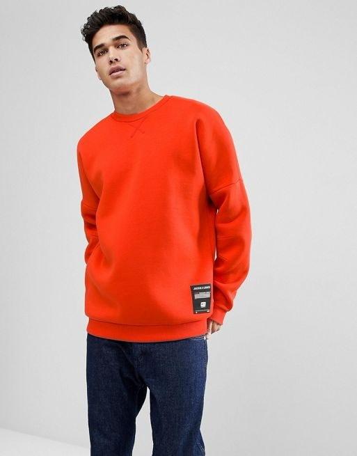 Jack & Jones Core Sweatshirt With Drop Shoulder In Neoprene Jersey