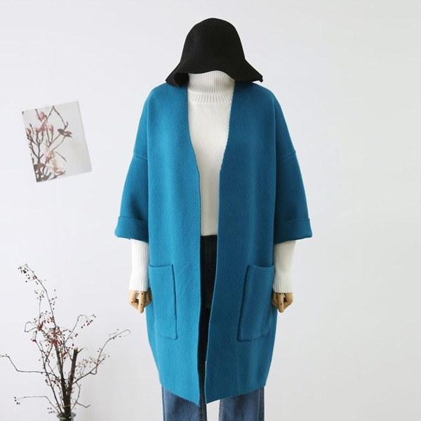 オプンウル・ニットコートJK003D7 女性のジャケット / 韓国ファッション/ジャケット/秋冬/レディース/ハーフ/ロング/