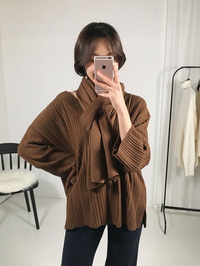 キディ段ボールVネックマフラーニットセットkorea fashion style