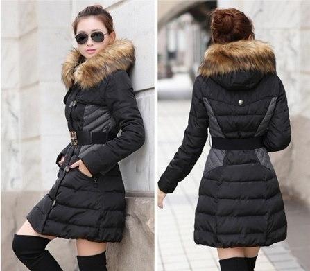 Twhualianファーフード付きジッパーロングスタイルの女性暖かいダウンコート冬のパーカーコート