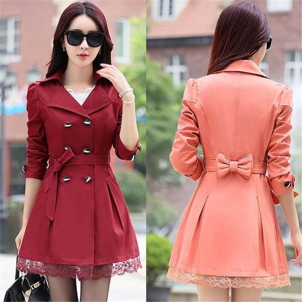 レディースレースのためのホットトレンチロングトレンチコートファッション英国風ウインドブレーカーAbrigos Mujer Coats 8 C