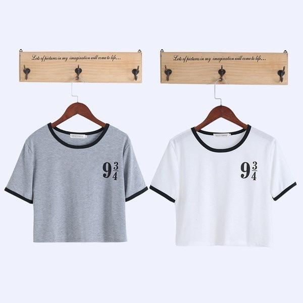 女性面白いショートプラットフォーム9 3 4 TシャツコットンOネックトップティーJUN