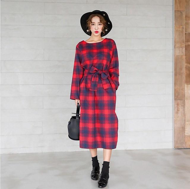 リボンストラップヨプトゥイムチェックロング秋ワンピースデイリールックkorea women fashion style