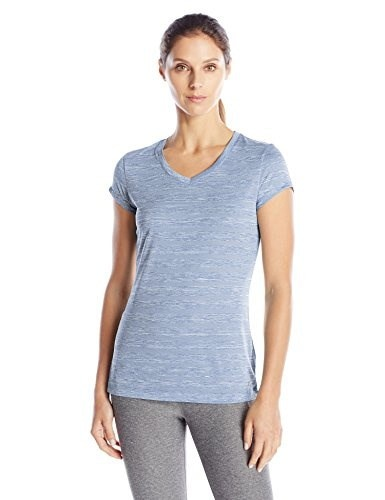 Spalding Womens Striped Spacedye Fitness Tee, Heron Stripe, Medium