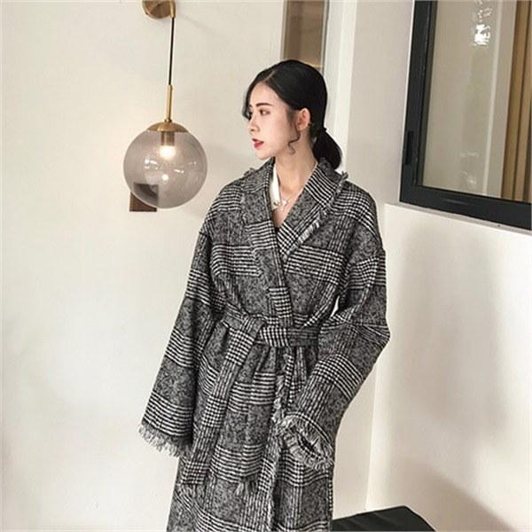 手術ポイントロングチェックコート 女性のコート/ 韓国ファッション/ジャケット/秋冬/レディース/ハーフ/ロング/