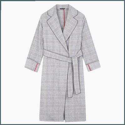 [シスレー(女性衣類)]チェック・ベルテッド・ラジアル・リンネンコートSACT80831RD /トレンチコート/コート/韓国ファッション