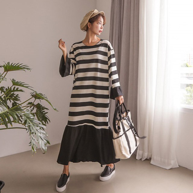 フリルラッパ袖ストライプパターン秋のロングワンピースデイリールックkorea women fashion style