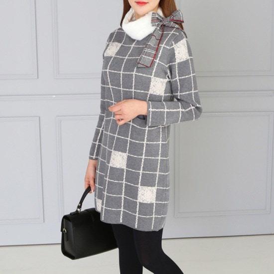 オーサムセルリナチェックニット・ワンピース233688 ニット/セーター/ニット/韓国ファッション