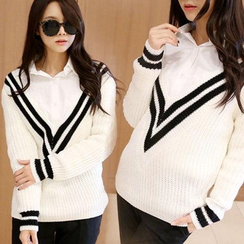 メイシーズダブルVのニットニットkorean fashion style