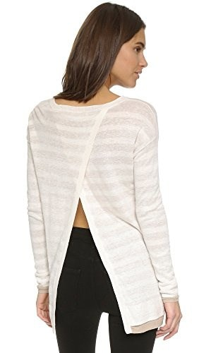Three Dots Womens Linda Reversible Slit Back Sweater, Spiced Bourbon/Gardenia, Large