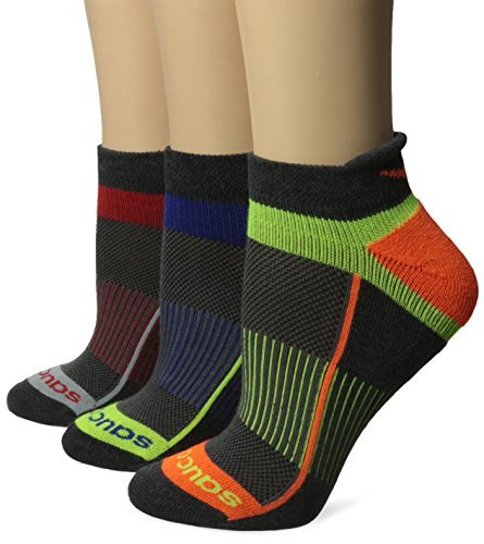 Saucony Womens Inferno Tab Socks, Black Bright, Medium/Shoe Size 7-10 (Pack of 3)