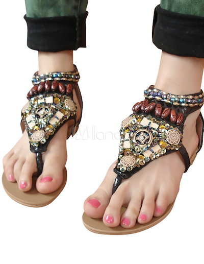 Beautiful Thong Toe PU Leather Flat Sandals For Woman