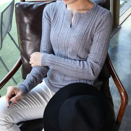 [デイリーアンド]ラコスリットtひらきニット基本ニット女性の秋ニットガンジョルギニットスリムフィットニット柔らかな肌触りの段ボールひらきTシャツ