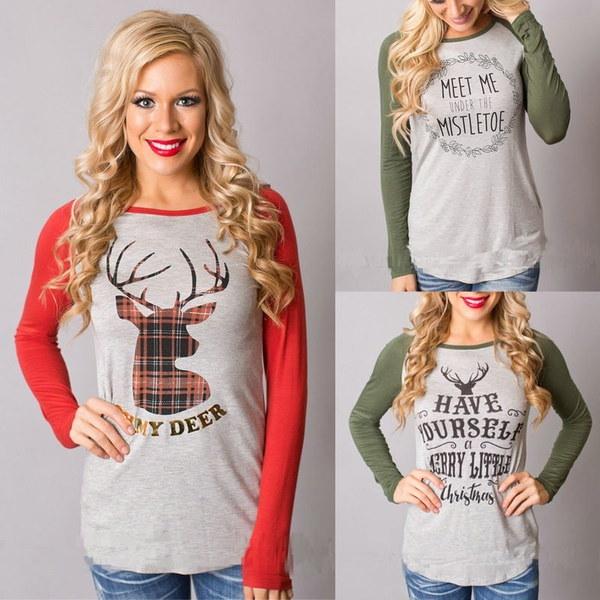 レディースファッションクリスマストナカイTシャツクルーネックコットンロングスリーブカジュアルトップスブラウス