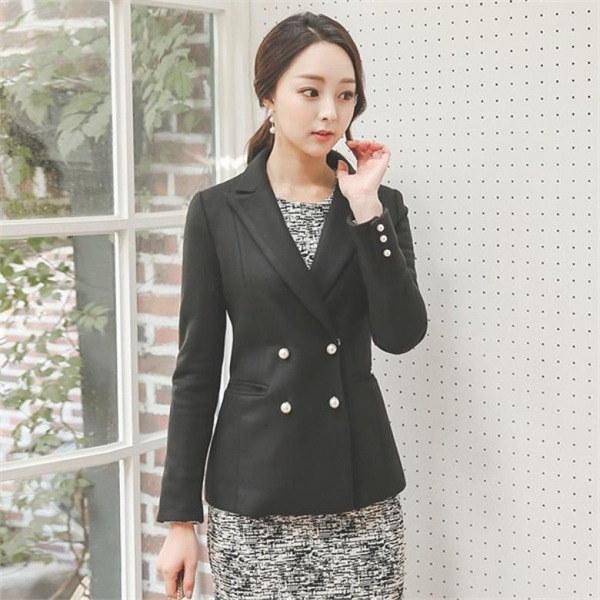 OTI517晋州ダブルボタンウールの一毛織テーラージャケットnew 女性のジャケット / 韓国ファッション/ジャケット/秋冬/レディース/ハーフ/ロング/