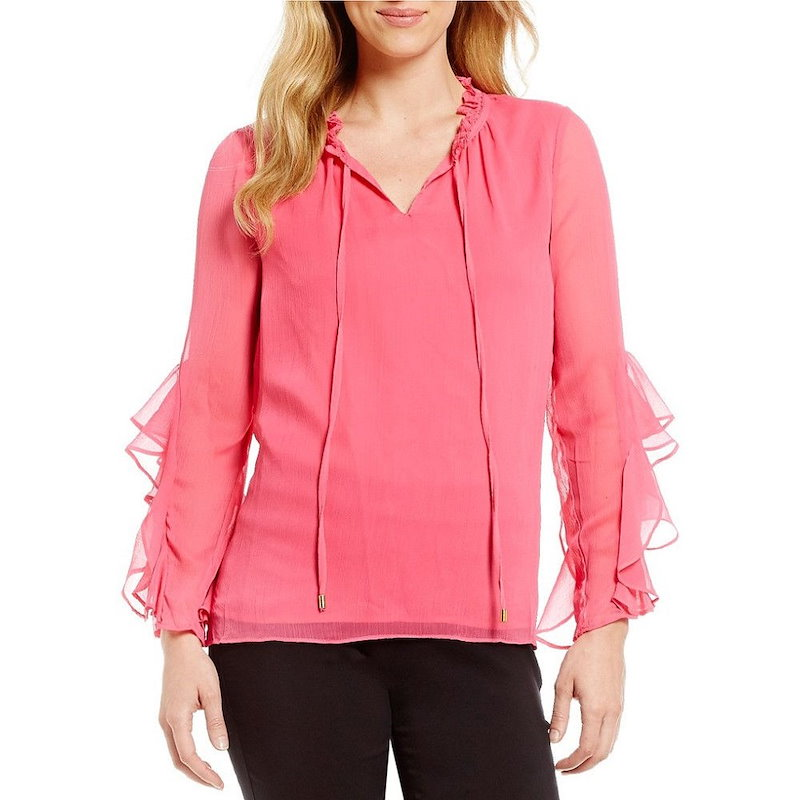 ギブソンアンドラティマー レディース トップス ブラウス・シャツ【Gibson & Latimer Long Sleeve Tie Front Top】Pink