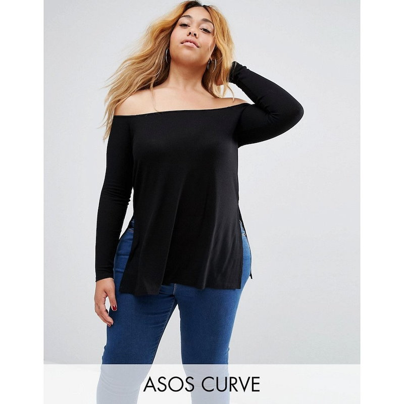 エイソス レディース トップス オフショルダー【ASOS CURVE Off Shoulder Slouchy Top With Side Splits】Black