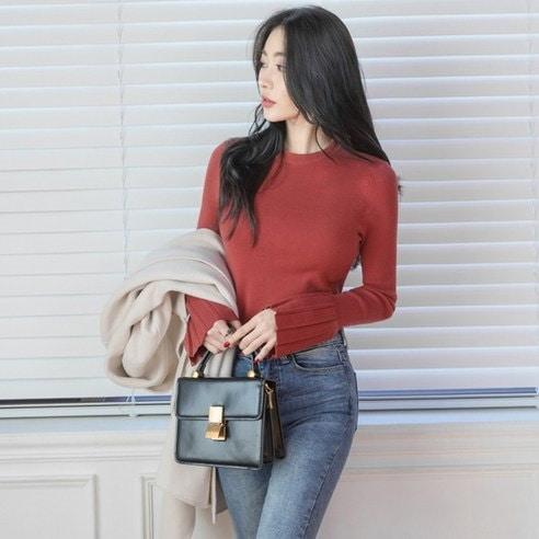 【WhiteFox]高クオリティプリーツスリーブニットkorea fashion style free shipping