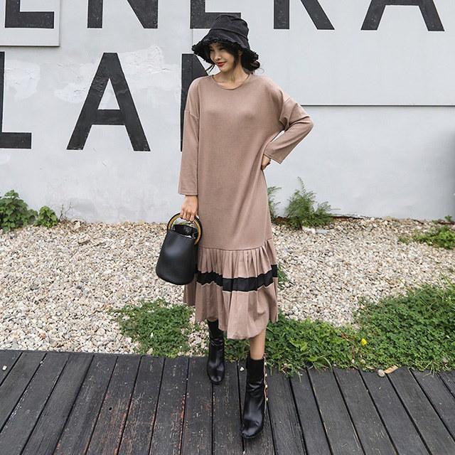 ルースフィットプリーツジュムルマキシロングワンピースホームウェアルックデイリールックkorea women fashion style