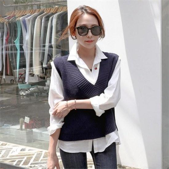 シーフォックス行き来するようにシーフォックスクリッパー・ニットベスト ベセチュウ / ニット・ベスト/ 韓国ファッション