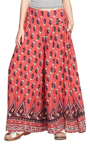 Free People Extreme Wide-Leg Printed Linen-Blend Soft Pants, Red Combo, X-Small