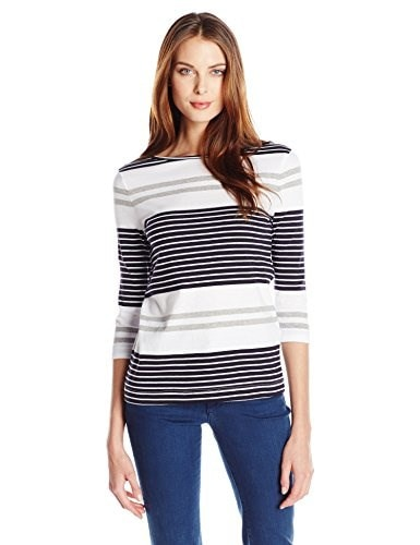 Three Dots Womens Soho Stripe 3/4 Sleeve Boatneck Tee, White, Large