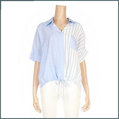 [タプゴル]・ストライプ配色ストリングシャツ(TJ4SH904F) /ルーズフィット/ロングシャツ/ブラウス/ 韓国ファッション