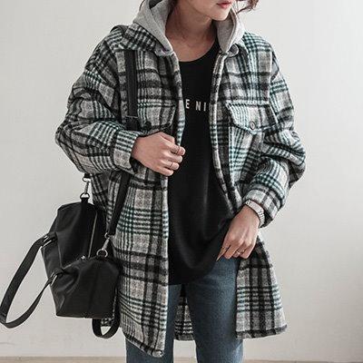 [BINS GIRL]体型カバーになる✿ チェック 毛織 シャツ ☆RON☆ フード付き シャツ
