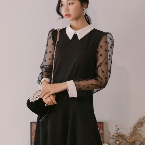 ウィドゥイプンブルレクノッ・ドットカラワンピース 塔/袖なしのワンピース/ 韓国ファッション