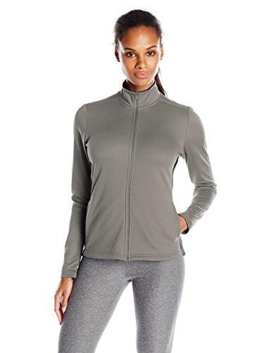 Champion Womens Performance Fleece Full Zip Jacket, Stone Gray/Black, XX-Large