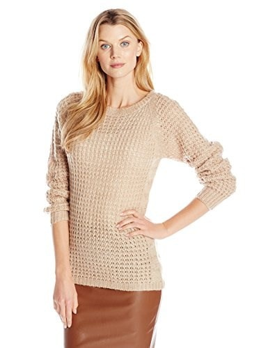 NY Collection Womens Raglan Boat Neck Pullover with Side Cable Detail, Sahara, Large