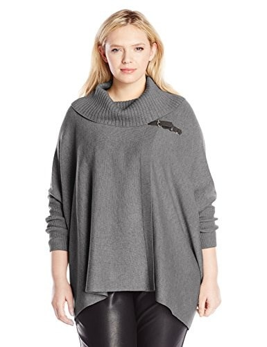 Calvin Klein Womens Plus-Size Sweater Cape with Buckle, Heather Charcoal, 2X/3X
