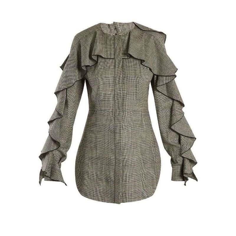 サラ バッタリア レディース トップス【Prince of Wales-checked wool-blend top】Black and White