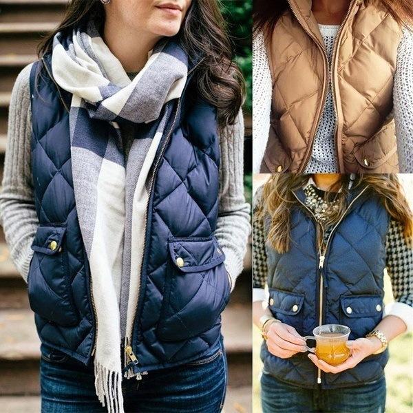 秋と冬の女性ファッションウォームベストジャケットノースリーブコートGiletベスト
