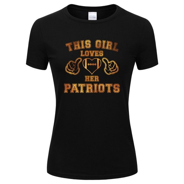ゴールドキラキラデザインプリント女性この女の子は彼女の愛国者サッカーTシャツを愛する(12色のサイズS  -  XL