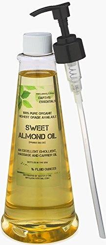 便利な16オンス。地球の必須成分から100%純粋な有機甘いアーモンドオイルで満たされたポンプボトル