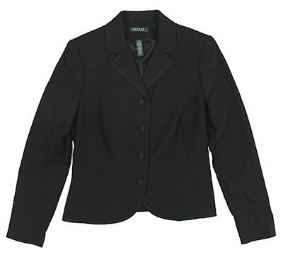Lauren Ralph Lauren Womens Soutache-Trim Peplum Jacket 10 Black